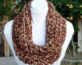 READY To SHIP Infinity Scarf, OOAK Loop Cowl, Rust Brown & Beige Extra Soft Crochet Knit Thick Chunky Winter Endless Circle, Neck Warmer