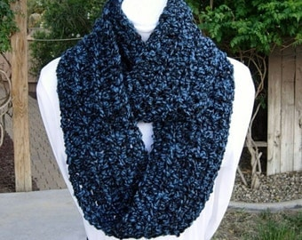 Blue and Black INFINITY SCARF, Soft Chunky Cowl, Blue Loop Scarf, Blue Black Winter, Crochet Knit Circle Scarf..Ready to Ship in 2 Days