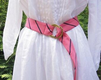 """Pink Navy Belt """"Necktie"""" Belt Ralph Lauren Authentic Designer Original Belt Gold-tone Buckle """"Silk"""" Tie Belt New Vintage 1990s Fabric Belt"""