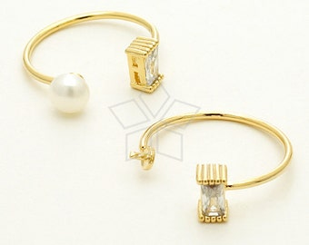 RR-020-GD / 1 Pcs - Cube CZ Ring Base for Half Drilled Pearl, 16K Gold Plated over Brass / Free Size