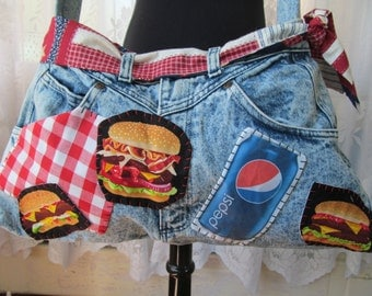 Pepsi Denim Womens Purse Upcycled Vintage Jeans Fun Bag Tote Shoulder Bag Cola Cheeseburger Pizza Patches