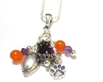 Clemson Football Necklace, Sterling Silver Tiger Paw, Amethyst Swarovski Crystal and Orange Glass Bead Dangles, Sterling Silver Rope Chain