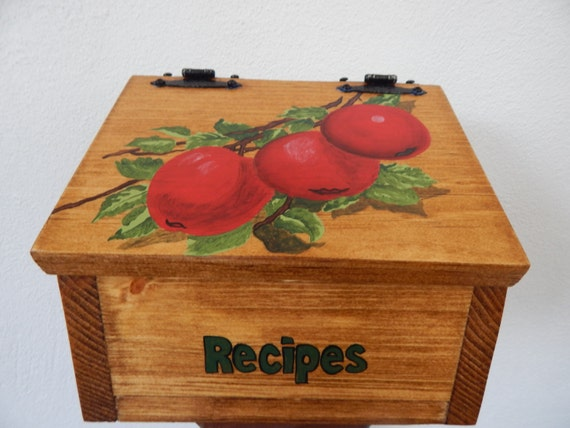 Recipe box apple kitchen decor apple recipe box hand made for Apple kitchen decoration set