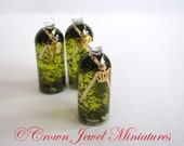 OOAK One (1) Tall Bottle of 1:12 Herb & Garlic Infused Olive Oil by IGMA Artisan Robin Brady-Boxwell - Crown Jewel Miniatures