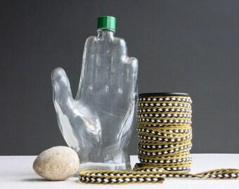 Vintage Hand - Shaped Glass Bottle  -  Mennen 1970s Large Cologne Aftershave Perfume Bottle - Clear Bottle