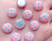 Round Button Cabochons (10pcs / 12mm / Pink & Green Polka Dot / Flat Back) Fabric Button Decor Hair Accessories Decoration Scrapbook CAB447