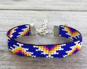 Royal Blue Fire Handmade Beaded Bracelet