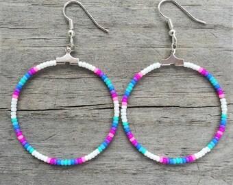 Handmade Beaded Hoop Cotton Candy Rainbow