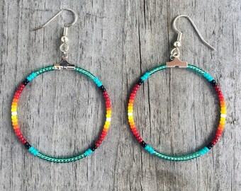 Handmade Beaded Hoop Fire Colors and Teal