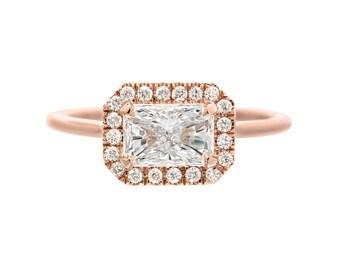 Pave Diamond Engagement Ring, Diamond Halo Engagement Ring, Pave Diamond Ring, Engagement Ring, Radiant Cut Diamond Ring, Emerald Cut, Nixin