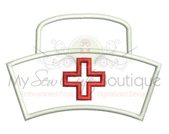 Nurse Hat Machine Embroidery Applique Design - 10 Sizes - Instant Download