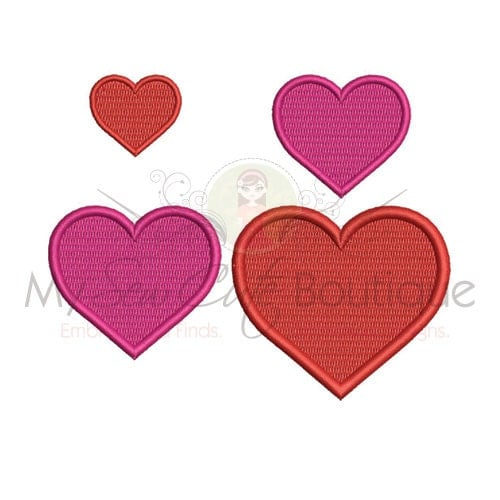 Heart embroidery design sizes instant download