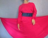 Pink Dress.  1980s Dress.  Jersey Dress.  Pink Jersey Knit Dress