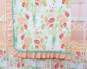 Reminisce Baby Girl Ruffle and Piping Trim Blanket featuring Peach and Mint for Vintage, Handmade Nursery Accessory