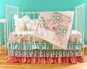 Primrose Garden - Turquoise and Coral Vintage-Inspired Crib Bedding Set - 5 Piece Baby Girl Bedding Set