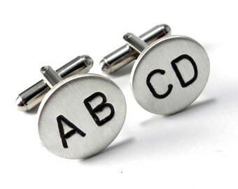 Monogram INITIAL Cuff Links, Custom Sterling Silver Personalized Hand-Stamped Cufflinks, Satin Finish, Any 2 LETTERS, WEDDING Groomsmen