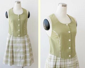 1970's Jumper Mod Dress S, Schoolgirl Plaid  Dress Small, Button Front Dirndl Dress