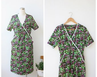 1960's Mod Dress, Cotton Summer Dress, Floral Garden Dress M L