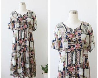 1990s Dress Vintage Tie back Grunge Dress Large, Floral Summer Dress L