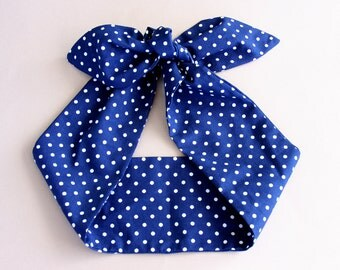 Polka dot headband rockabilly headband retro head wrap navy blue headband top knot headband adult headband woman tie up headband dolly bow