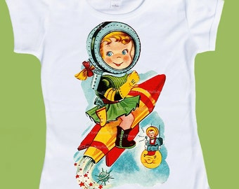 Retro Rocket Girl , Space girl, Astronaut Tee, graphic T-Shirt, one piece, baby body suit, vintage childrens, ChiTownBoutique.etsy