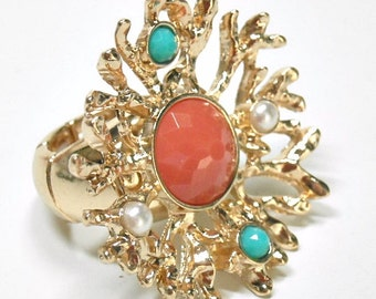 Coral Reef Ring - Stretch Coral Ring - Sea Life - Turquoise and Coral - Ocean - Beach - Summer - Boho Chic - Nature - Pearl - Nautical