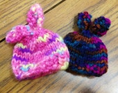 Knit Egg Cozy, Easter Egg Hat, Beanie with Bunny Rabbit Ears, Set of 2, Choose Bright Pink Blend, Pastel or Deep Jewel Tone Vegan Yarn