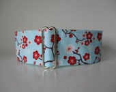 Aqua Martingale Collar, Cherry Blossom Martingale Collar, Aqua Dog Collar, Cherry Blossom Dog Collar, Whippet Collar