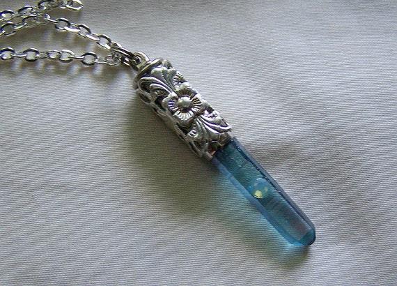 Aqua Aura Quartz Crystal Filigree Bullet Jewelry Pendant