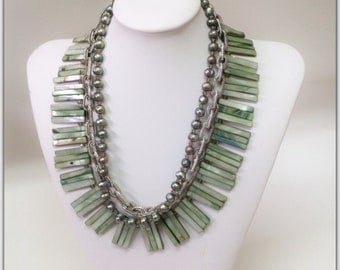 Sage Shells Freshwater Pearls Statement Necklace