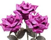 3 leather roses purple bouquet third Anniversary wedding gift Long Stem leather Flower Valentine's Day 3rd Leather Anniversary Mother's Day