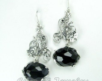 FILIGREE Earrings, 925 Sterling Silver Earrings, Black Onyx Earrings, Gift For Her, Friendship Gift