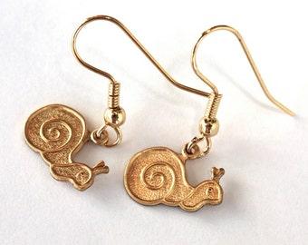 1960s Snail Earrings  // 60s 70s Snails //  Brass // Handmade Vintage Jewellry