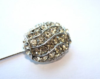 1960s Rhinestone Stick Pin // 50s 60s  Vintage Stickpin // NOS // Rhinestones Oval // Silver // Spring