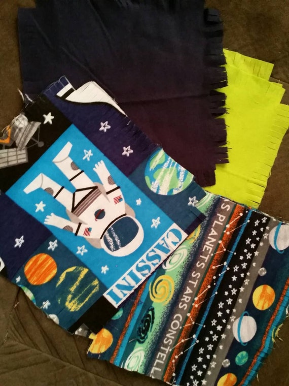 Private flannel rag quilt kit astronaut space planets glow in for Space flannel