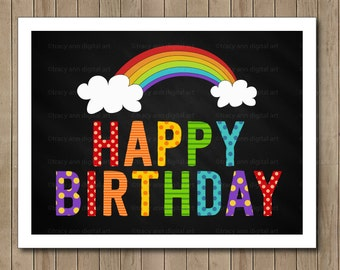Rainbow Happy Birthday Printable Party Sign - Instant download 1080
