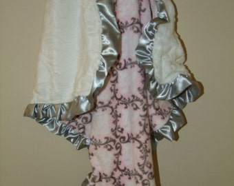 Pink Vine Damask Minky Blanket and Satin Ruffle- Ships in 1-3 Days
