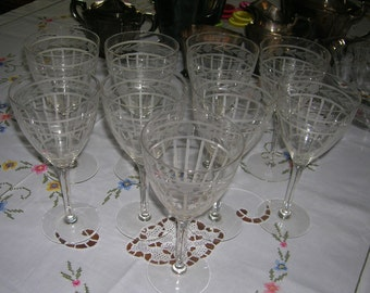 9 Vintage Crystal Wine Glasses Floral & Rib Gray Cut Design Circa 1950's