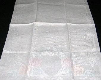 Vintage Damask Linen Hand Towel With Multi Colored Florals Center Design Pattern