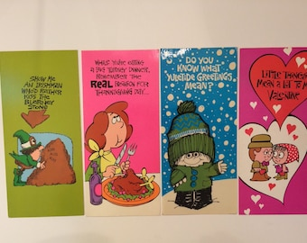 1970s Greeting Cards Holiday Cards Funny St. Patrick's Day, Thanksgiving, Seasons Greetings and Valentine's day