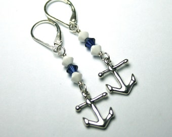 ON SALE - Anchors Away Earrings - Nautical Earrings with Swarovski Crystail in Navy Blue and White - Sterling Silver Leverbacks