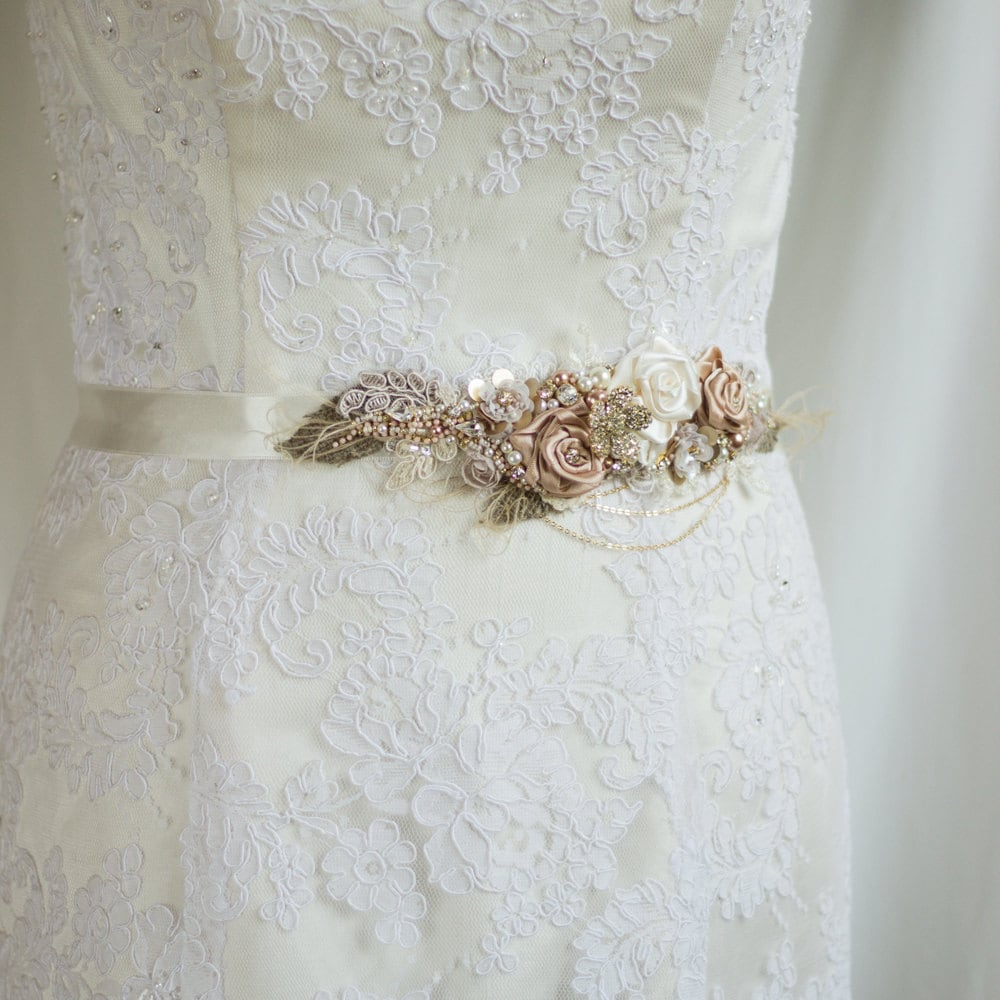Wedding belt wedding dress sash belt bridal belt lace for Wedding dress belt sash