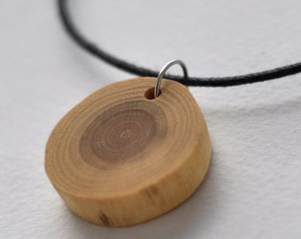 wood necklace •   white acacia wood necklace •  wooden necklace