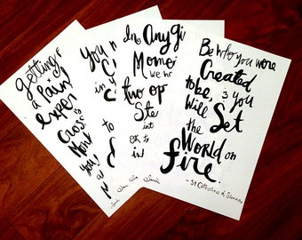 "Inspiration Ink Quote Handlettering 11""x17"" Poster Print 4-Set"