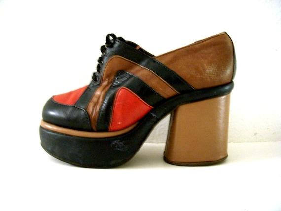 vintage 70s platform shoes color block disco shoes