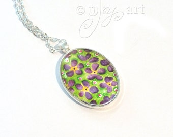 Art Pendant, Purple flowers, pendnat with necklace, original acrylic painting under glass, mini art, NOT A PRINT
