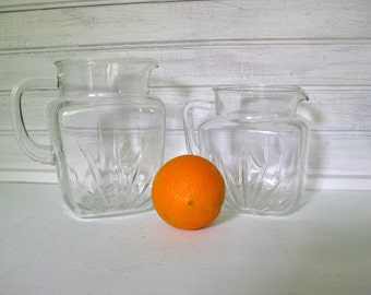 Two Vintage Glass Pitchers / Water Pitcher / Juice Pitcher / 1950's