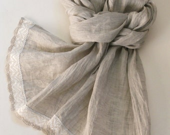 Summer linen scarf, natural light gray lightweight scarf with linen lace, gift for her in shabby chic style