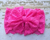 Bright Pink Lace Messy Bow Head Wrap