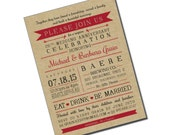 Surprise Wedding Anniversary Invitation - 40th - Kraft - Personalized Printable File or Print Package - Eat Drink & Be Married #00048-PIA7